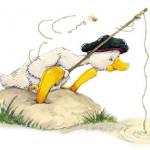 coloriage canard pêcheur
